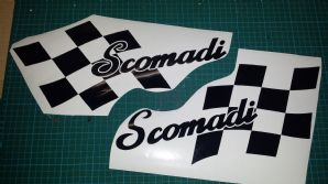 Scomadi TL125 TL50 side panel stripe Flag sticker kit Chequers Checkers type 1